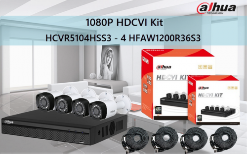 KIT DAHUA DVR 4 CANALES 2 MP TRIHIBRIDO FULL 1080P FULL HD 960H